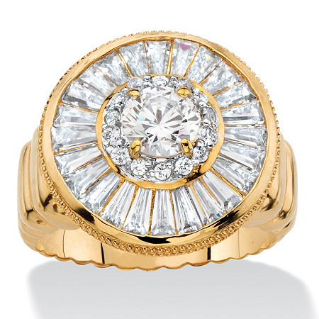 4.55 TCW Round and Baguette-Cut Cubic Zirconia Cluster Halo Ring 14k Gold-Plated at PalmBeach Jewelry