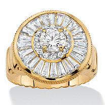4.55 TCW Round and Baguette-Cut Cubic Zirconia Cluster Halo Ring 14k Gold-Plated