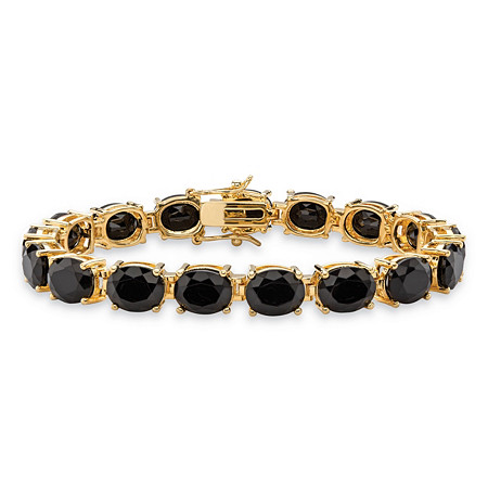 "Oval-Cut Genuine Faceted Black Onyx Tennis Bracelet 14k Gold-Plated with Box Clasp 7.5"" at PalmBeach Jewelry"