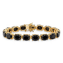 SETA JEWELRY Oval-Cut Genuine Faceted Black Onyx Tennis Bracelet 14k Gold-Plated with Box Clasp 7.5