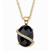 .20 TCW Oval Checkerboard-Cut Genuine Black Onyx and Pave CZ Accent Pendant Necklace 14k Gold-Plated 18