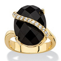 SETA JEWELRY .20 TCW Oval Checkerboard-Cut Genuine Black Onyx and Pave CZ Cocktail Ring 14k Gold-Plated