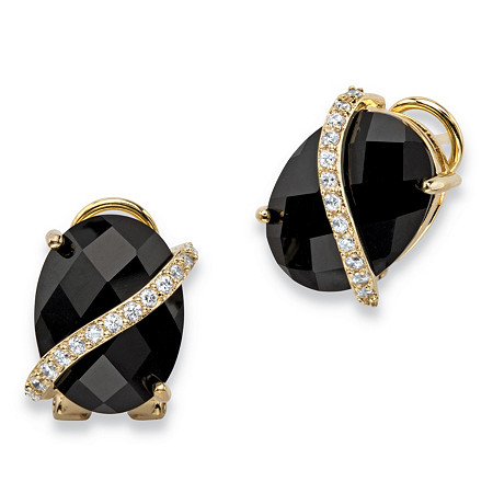 .39 TCW Oval Checkerboard-Cut Genuine Black Onyx and Pave CZ 14k Gold-Plated Drop Earrings at PalmBeach Jewelry
