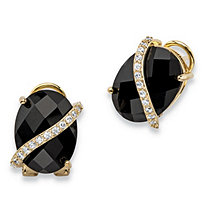 .39 TCW Oval Checkerboard-Cut Genuine Black Onyx and Pave CZ 14k Gold-Plated Drop Earrings