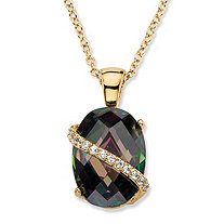 13.06 TCW Oval-Cut Faceted Mystic Cubic Zirconia Pendant Necklace 14k Gold-Plated with White CZ Accents 18""