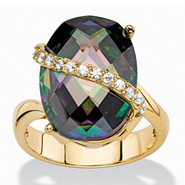 13.06 TCW Oval-Cut Faceted Mystic Cubic Zirconia Cocktail Ring 14k Gold-Plated with White CZ Accents