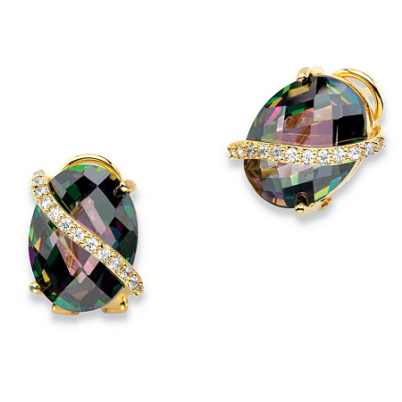 19.03 TCW Oval-Cut Faceted Mystic Cubic Zirconia Drop Earrings 14k Gold-Plated with White CZ Accents at PalmBeach Jewelry