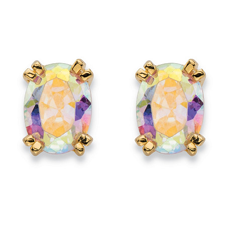 2.42 TCW Oval-Cut Aurora Borealis Cubic Zirconia Stud Earrings 14k Gold-Plated at PalmBeach Jewelry