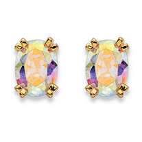 2.42 TCW Oval-Cut Aurora Borealis Cubic Zirconia Stud Earrings 14k Gold-Plated