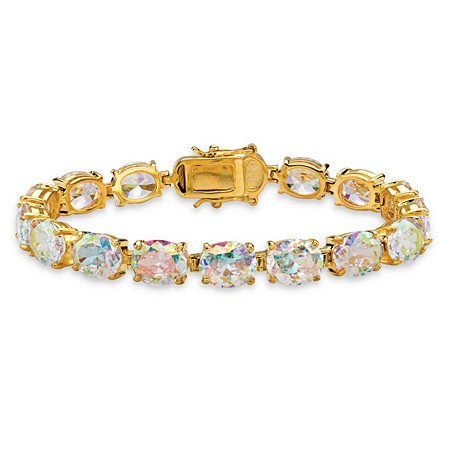 "38.10 TCW Oval-Cut Aurora Borealis Cubic Zirconia Tennis Bracelet 14k Gold-Plated 7.5"" at PalmBeach Jewelry"