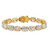 Related Item 38.10 TCW Oval-Cut Aurora Borealis Cubic Zirconia Tennis Bracelet 14k Gold-Plated 7.5
