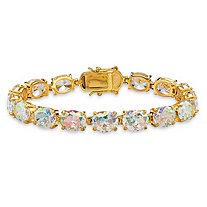 "38.10 TCW Oval-Cut Aurora Borealis Cubic Zirconia Tennis Bracelet 14k Gold-Plated 7.5"""