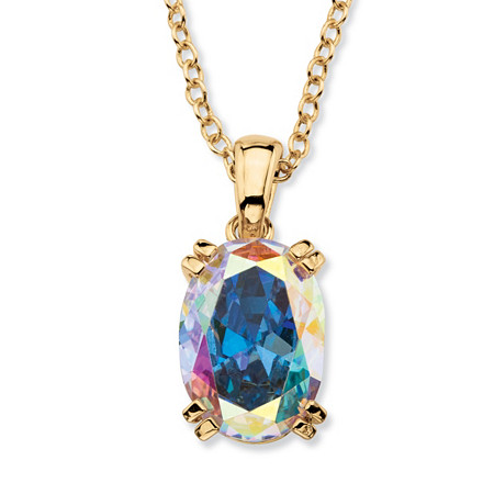 "5.81 TCW Oval-Cut Aurora Borealis Cubic Zirconia  Pendant Necklace 14k Gold-Plated 18"" at PalmBeach Jewelry"