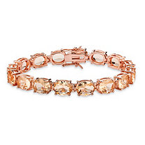 Faceted Oval-Cut Peach Glass Tennis Bracelet Rose Gold-Plated with Box Clasp 7.25