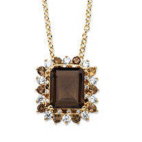 9.62 TCW Emerald-Cut Genuine Smoky Topaz and CZ Accent Halo Pendant Necklace 14k Gold-Plated 18""