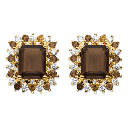 10.04 TCW Emerald-Cut Genuine Smoky Topaz and CZ Accent Halo Earrings 14k Gold-Plated at PalmBeach Jewelry
