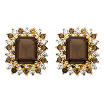 10.04 TCW Emerald-Cut Genuine Smoky Topaz and CZ Accent Halo Earrings 14k Gold-Plated