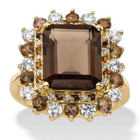 9.62 TCW Emerald-Cut Genuine Smoky Topaz and CZ Accent  Halo Cocktail Ring 14k Gold-Plated at PalmBeach Jewelry