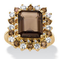 Emerald-Cut Genuine Smoky Topaz And CZ Accent Halo Cocktail Ring ONLY $39.99