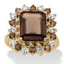 SETA JEWELRY 9.62 TCW Emerald-Cut Genuine Smoky Topaz and CZ Accent  Halo Cocktail Ring 14k Gold-Plated