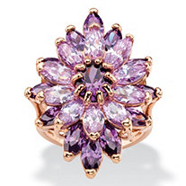 8.31 TCW Oval and Marquise-Cut Simulated Purple and Lavender Amethyst Floral Cluster Cocktail Ring Rose Gold-Plated