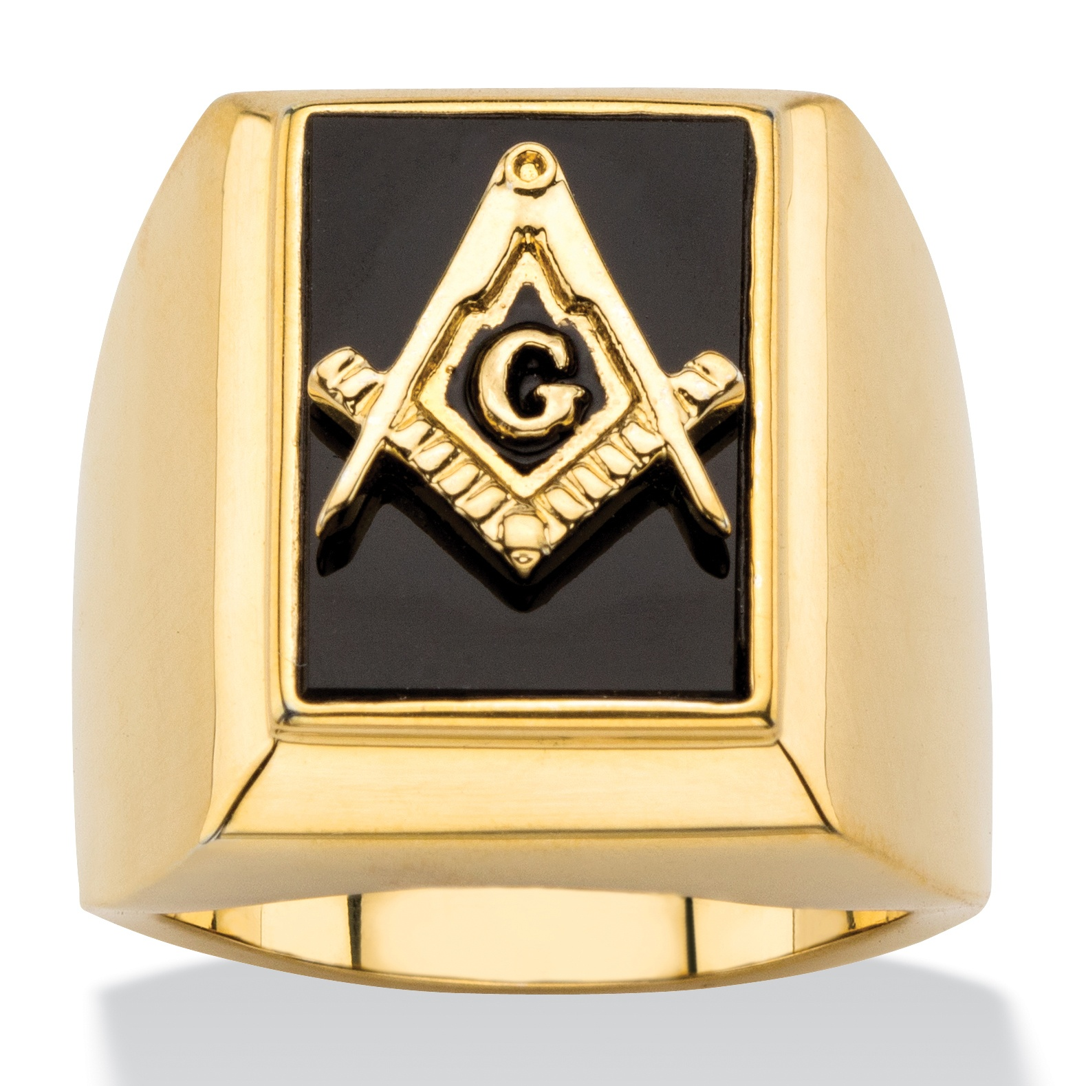 Men S Emerald Cut Genuine Black Onyx Masonic Square And
