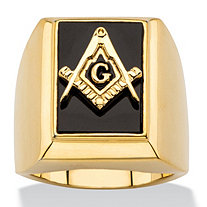 Men's Emerald-Cut Genuine Black Onyx Masonic Square and Compasses Cabochon Ring 14k Gold-Plated