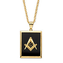 Men's Emerald-Cut Genuine Black Onyx 14k Gold-Plated Masonic Square and Compasses Pendant Necklace 22