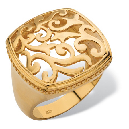 Squared Filigree Ring with Milgrain Edging in 18k Gold over Sterling Silver at PalmBeach Jewelry