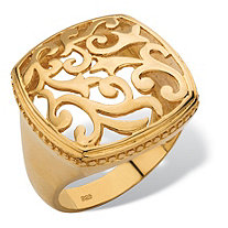 SETA JEWELRY Squared Filigree Ring with Milgrain Edging in 18k Gold over Sterling Silver