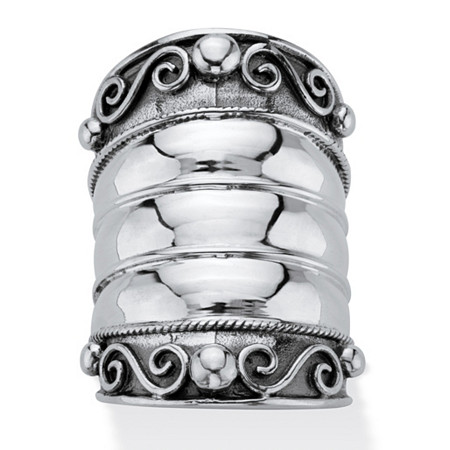 Bohemian Wide Cigar Band-Style Scroll Ring Band in Antiqued Sterling Silver at PalmBeach Jewelry