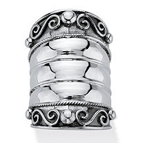 Bohemian Wide Cigar Band-Style Scroll Ring Band in Antiqued Sterling Silver