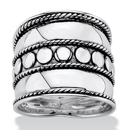Bali Bohemian Wide Cigar Band-Style Ring Band in Antiqued .925 Sterling Silver with Rope Detailing at PalmBeach Jewelry