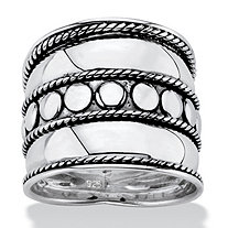 Bali Bohemian Wide Cigar Band-Style Ring Band in Antiqued .925 Sterling Silver with Rope Detailing