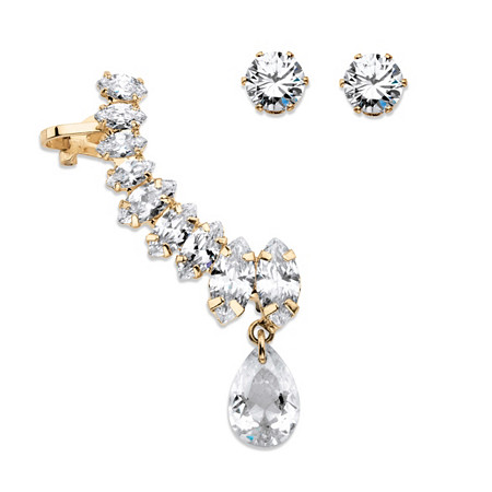 Marquise and Pear-Cut White Crystal Ear Climber Cuff and Round Stud 3-Piece Earrings Set in Gold Tone at PalmBeach Jewelry