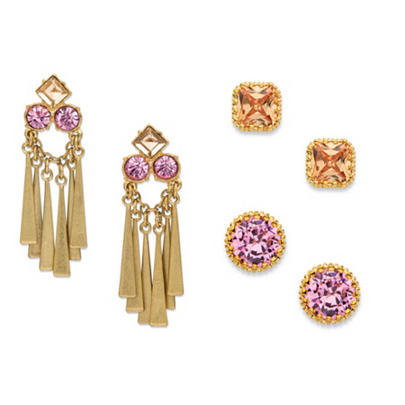 Champagne and Pink Crystal 3-Pair Stud and Tassel Drop Earrings Set in Matte Gold Tone at PalmBeach Jewelry