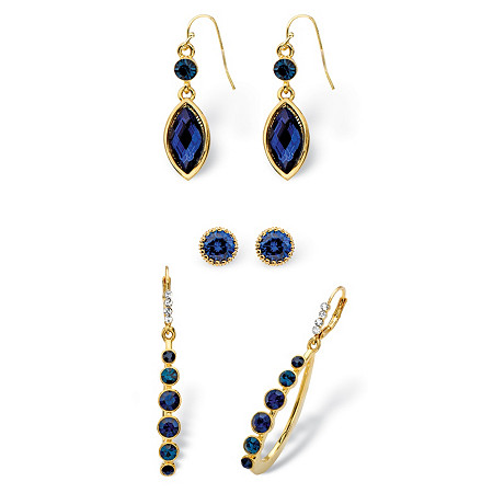 Round and Marquise-Cut Simulated Midnight Blue Sapphire Crystal 3-Pair Stud, Drop and Hoop Earrings Set in Gold Tone at PalmBeach Jewelry