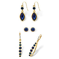 Round and Marquise-Cut Simulated Midnight Blue Sapphire Crystal 3-Pair Stud, Drop and Hoop Earrings Set in Gold Tone