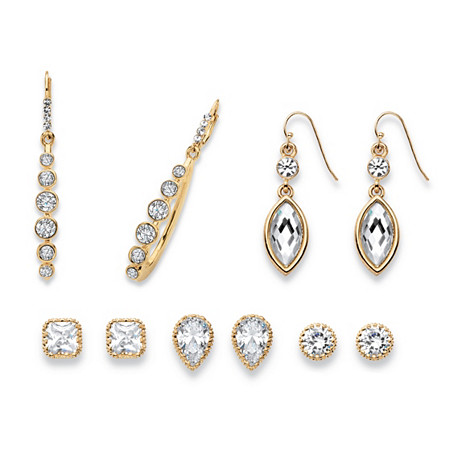 Round, Pear, Marquise and Princess-Cut Faceted White Crystal Gold Tone 5-Pair Stud and Drop Earrings Set at PalmBeach Jewelry