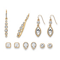 White Crystal Gold Tone 5-Pair Stud And Drop Earrings Set ONLY $26.93