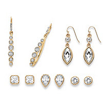 Round, Pear, Marquise and Princess-Cut Faceted White Crystal Gold Tone 5-Pair Stud and Drop Earrings Set