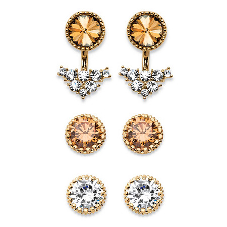 Champagne and White Crystal 3-Pair Ear Jacket and Stud Earrings Set in Gold Tone at PalmBeach Jewelry
