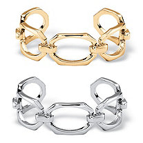 Elongated Octagon-Link 2-Piece Cuff Bracelet Set in Gold Tone and Silvertone 6.5