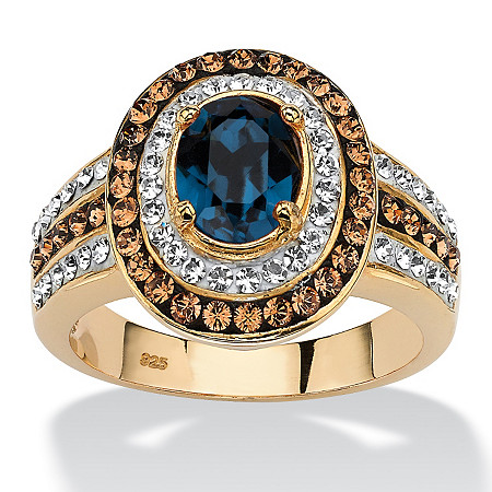 Oval-Cut Sapphire Blue Crystal Halo Ring with Chocolate Crystal Accents MADE WITH SWAROVSKI ELEMENTS in 18k Gold over Sterling Silver at PalmBeach Jewelry