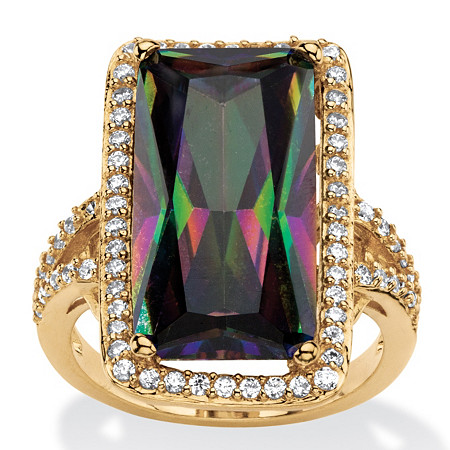 28.56 TCW Emerald-Cut Mystic Cubic Zirconia Halo Cocktail Ring with Pave White CZ Accents 14k Gold-Plated at PalmBeach Jewelry