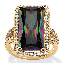 28.56 TCW Emerald-Cut Mystic Cubic Zirconia Halo Cocktail Ring with Pave White CZ Accents 14k Gold-Plated
