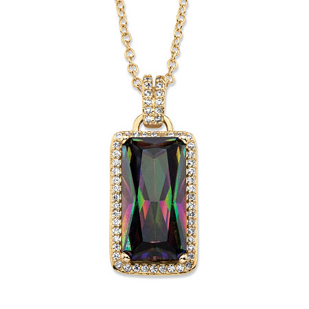 27.46 TCW Emerald-Cut Mystic Cubic Zirconia Halo Pendant Necklace with White CZ Accents 14k Gold-Plated 18