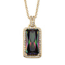 27.46 TCW Emerald-Cut Mystic Cubic Zirconia Halo Pendant Necklace with White CZ Accents 14k Gold-Plated 18""