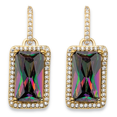"""32.80 TCW Emerald-Cut Mystic Cubic Zirconia Halo Drop Earrings 14k Gold-Plated with White CZ Accents 1.25"""" at PalmBeach Jewelry"""