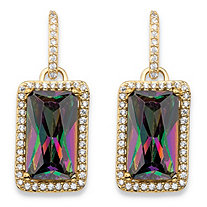 32.80 TCW Emerald-Cut Mystic Cubic Zirconia Halo Drop Earrings 14k Gold-Plated with White CZ Accents 1.25""